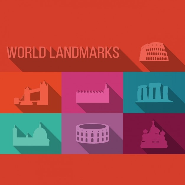 Colección de edificios emblemáticos del mundo vector gratuito