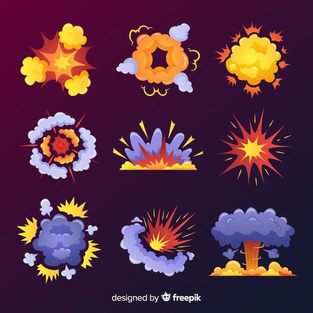 Colección efectos explosión diseño dibujos animados vector gratuito
