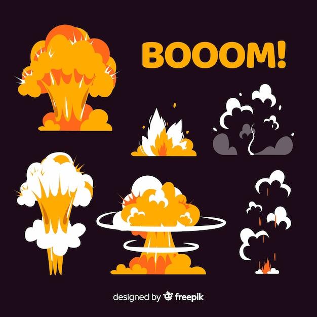 Colección de efectos de explosión estilo de dibujos animados. vector gratuito