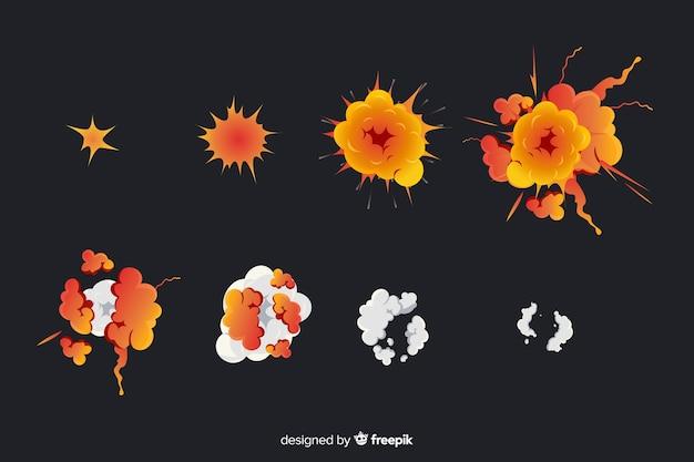Colección de efectos de explosiones dibujos animados vector gratuito