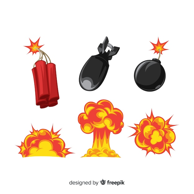 Colección de efectos de explosiones dibujos animados Vector Premium