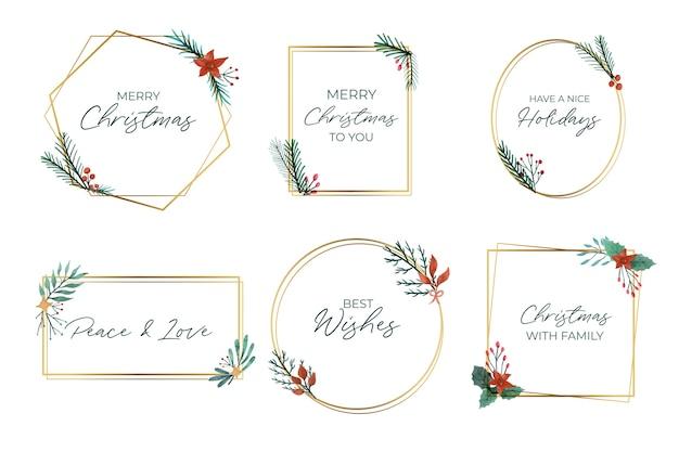 Colección de elegantes marcos navideños dorados vector gratuito