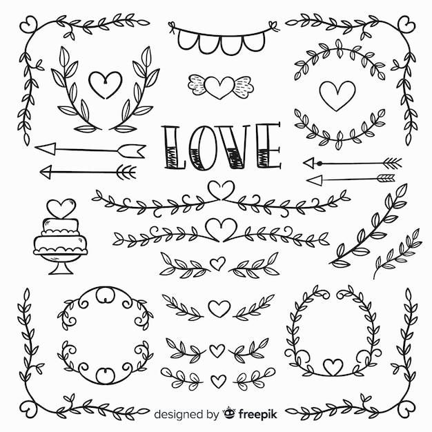 Colección de elementos de boda dibujados a mano vector gratuito