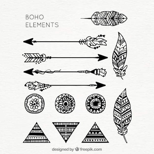Colección de elementos boho dibujados a mano vector gratuito