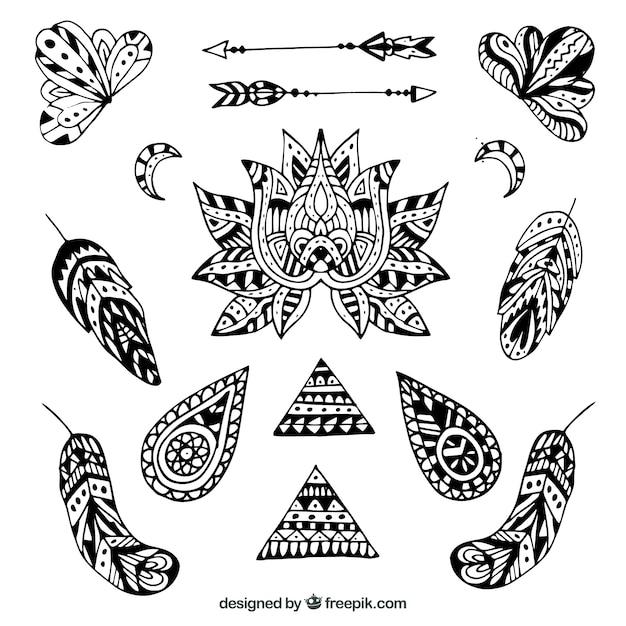 Colección de elementos boho en estilo hecho a mano vector gratuito