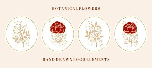 Colección de elementos botánicos vintage de rosas, peonías y ramas de hojas para marcas de belleza o logotipos florales femeninos Vector Premium
