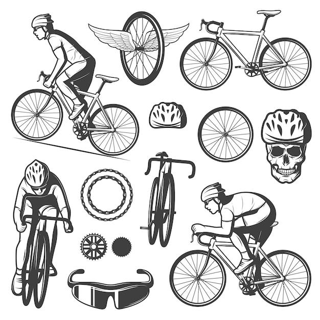 Colección de elementos de ciclismo vintage vector gratuito