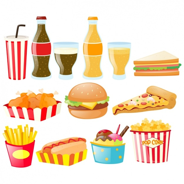Colección de elementos de comida rápida vector gratuito