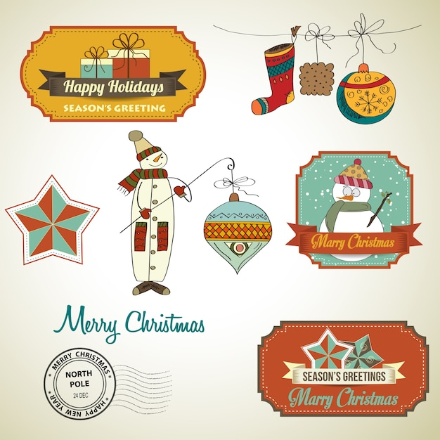 Colección de elementos decorativos de navidad vintage y etiquetas Vector Premium