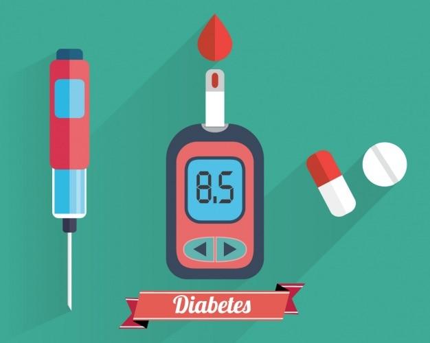 Colección de elementos de diabetes vector gratuito