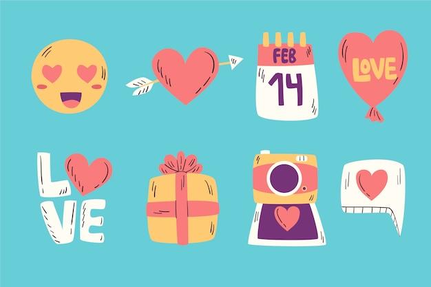 Colección de elementos dibujados a mano del día de san valentín vector gratuito