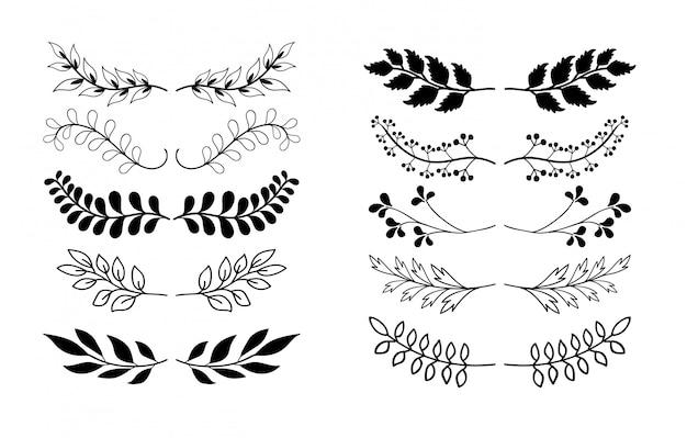 Colección de elementos dibujados a mano de las fronteras, adorno floral Vector Premium