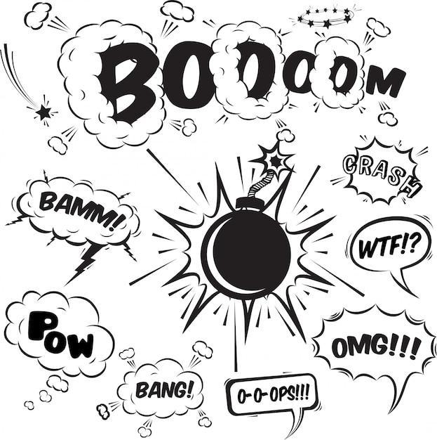 Colección de elementos de diseño de burbujas de discurso cómico vector gratuito