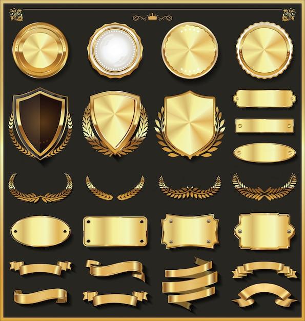 Colección de elementos de diseño de oro y plata de lujo Vector Premium