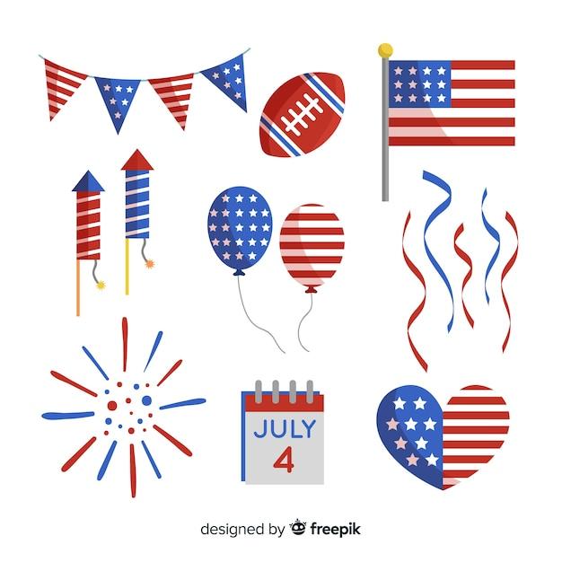 Colección de elementos en diseño plano del 4 de julio - día de la independencia vector gratuito