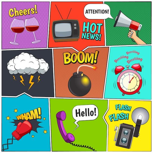 Colección de elementos de diseño retro de cómics con reloj despertador y nubes de tormenta. vector gratuito
