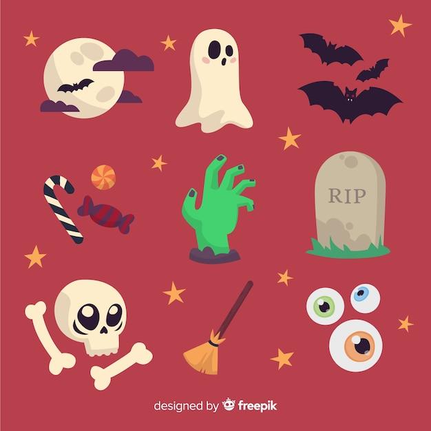 Colección de elementos divertidos de halloween vector gratuito