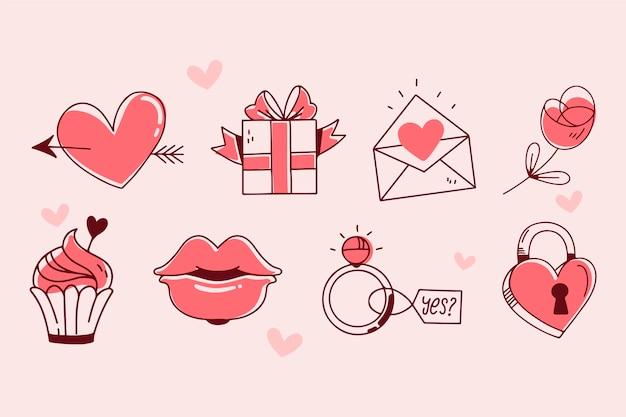 Colección de elementos doodle de san valentín Vector Premium