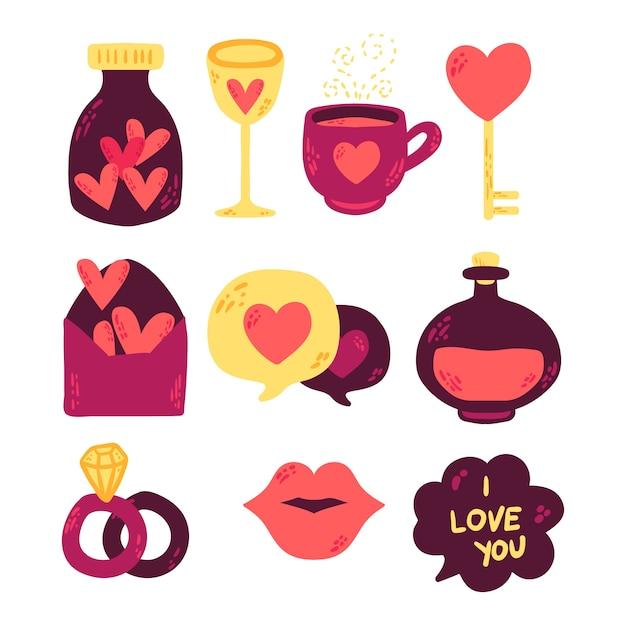 Colección de elementos doodle de san valentín vector gratuito