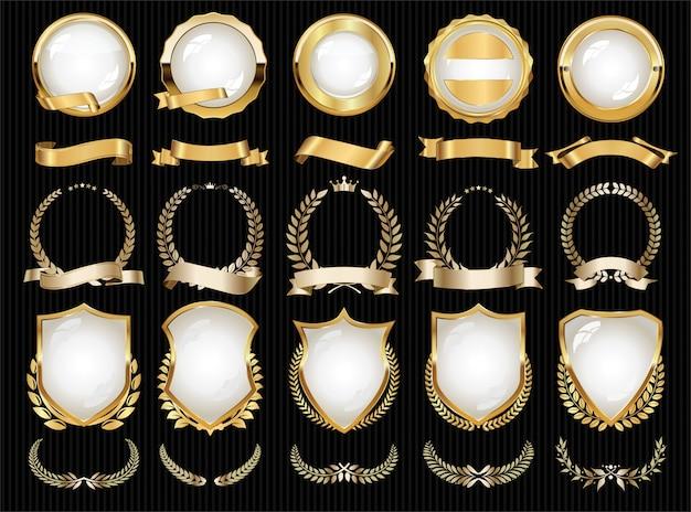 Colección de elementos dorados de lujo con distintivos, etiquetas y laureles Vector Premium