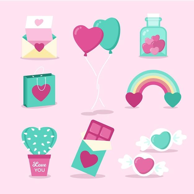 Colección de elementos de dulces y objetos de san valentín vector gratuito