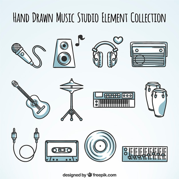 Colección de elementos de equipo de música dibujado a mano vector gratuito