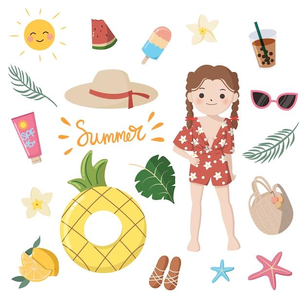 Colección de elementos esenciales de verano para niña. cute dibujos animados coloridos clip art. diseño plano aislado sobre fondo blanco. Vector Premium