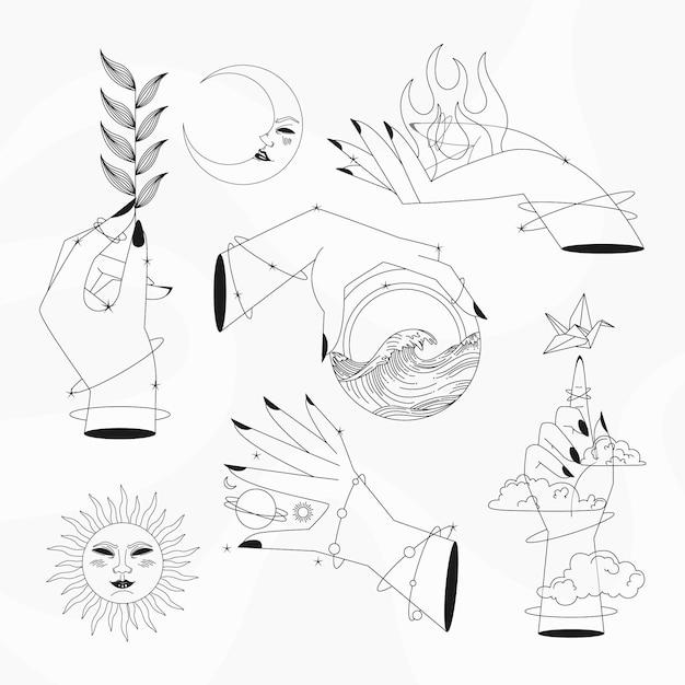 Colección de elementos esotéricos vector gratuito
