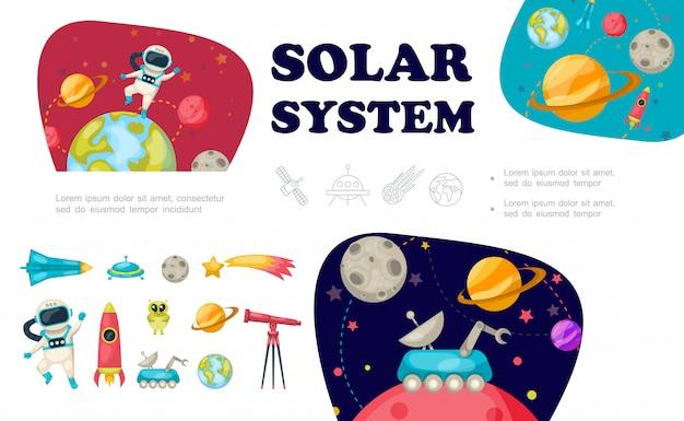 Colección de elementos del espacio plano con astronauta nave espacial ovni alien meteor telescope rocket moon rover sistema solar vector gratuito
