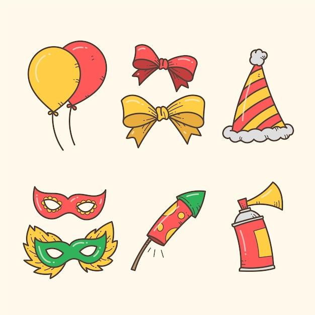 Colección de elementos de fiesta de año nuevo dibujados a mano vector gratuito