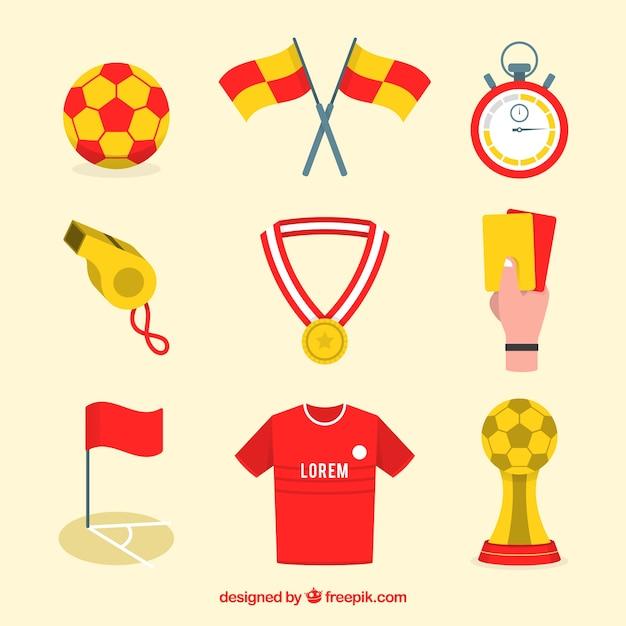 Colección de elementos de fútbol con equipamiento vector gratuito