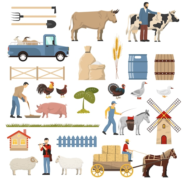 Colección de elementos ganaderos vector gratuito