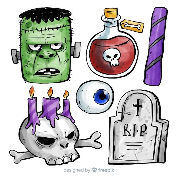 Colección de elementos de halloween en acuarela vector gratuito
