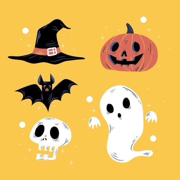 Colección de elementos de halloween dibujada vector gratuito
