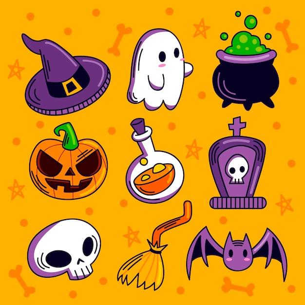Colección de elementos de halloween dibujados a mano Vector Premium