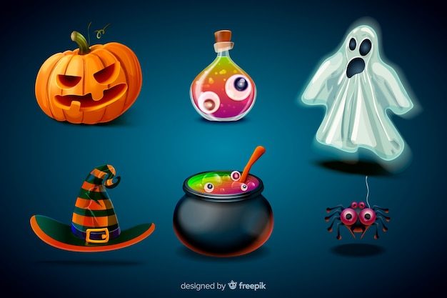 Colección de elementos de halloween de dibujos animados realistas vector gratuito