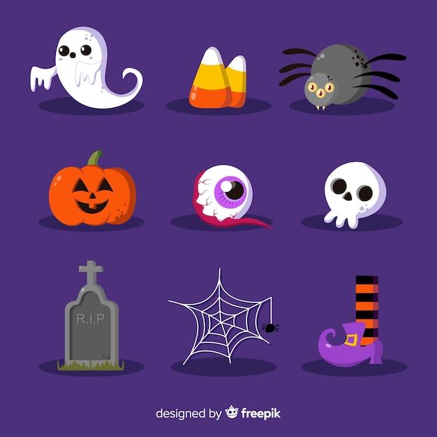 Colección de elementos de halloween en diseño plano vector gratuito