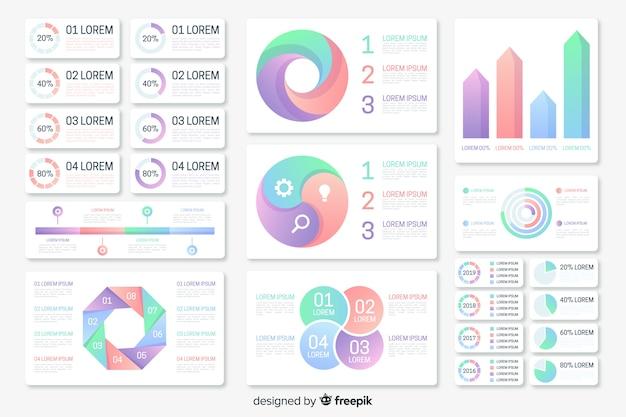 Colección de elementos de infografía con degradado vector gratuito