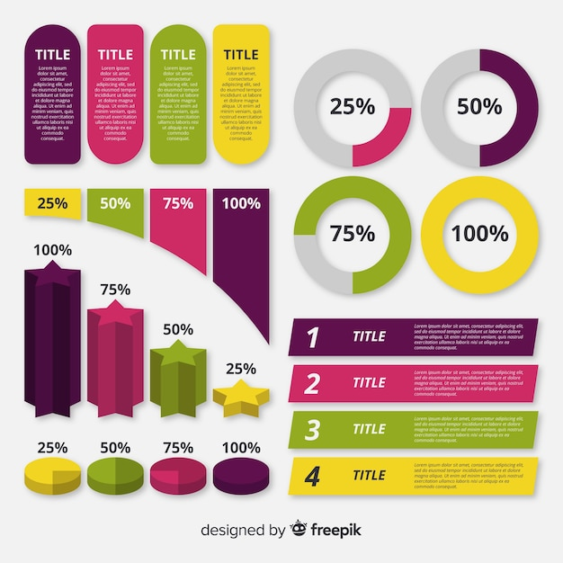 Colección elementos infografía diseño plano vector gratuito
