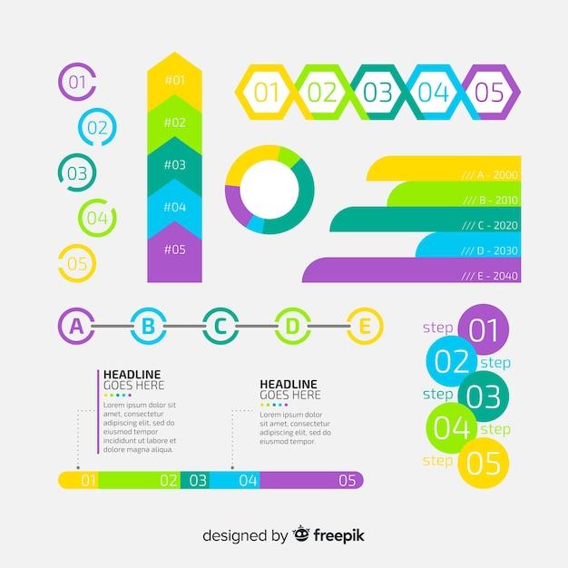 Colección de elementos de infografía de diseño plano vector gratuito