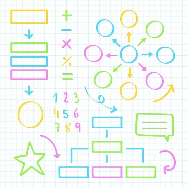 Colección de elementos de infografía escolar con marcadores de colores vector gratuito