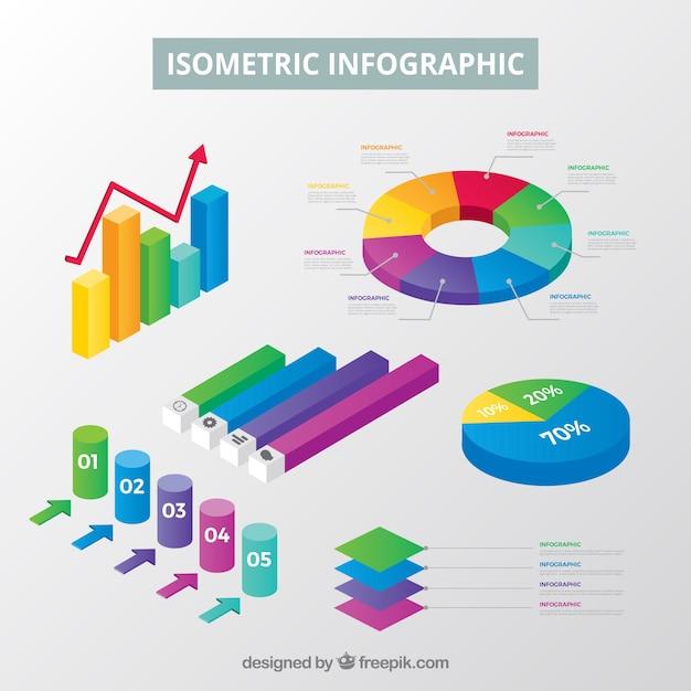 Colección de elementos de infografía en estilo isométrico Vector Premium