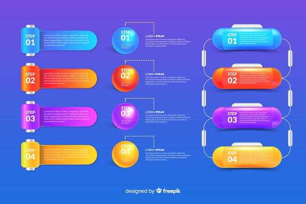 Colección de elementos de infografía en estilo realista brillante vector gratuito