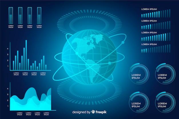 Colección de elementos de infografía futuristas vector gratuito