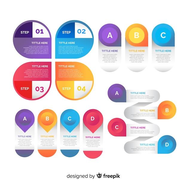 Colección de elementos de infografía gradiente vector gratuito
