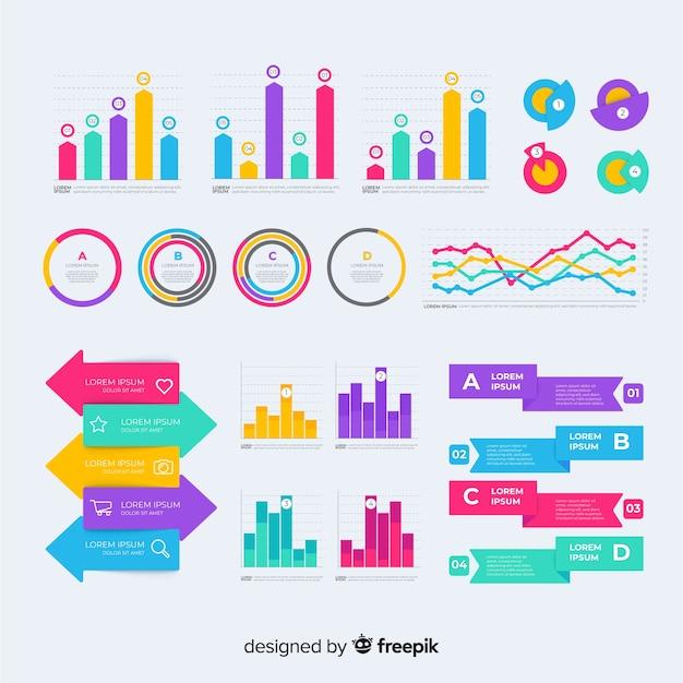 Colección de elementos de infografía plana vector gratuito