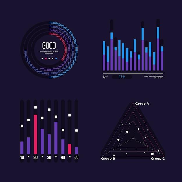 Colección de elementos de infografía del tablero vector gratuito