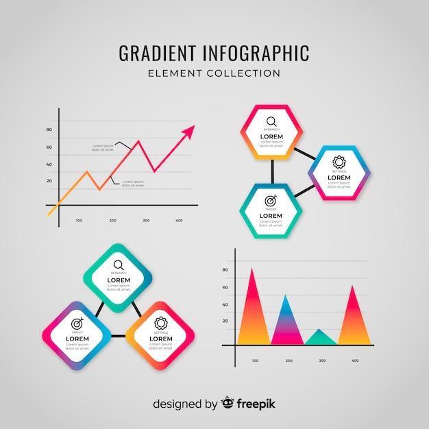 Colección de elementos de infografías degradado vector gratuito