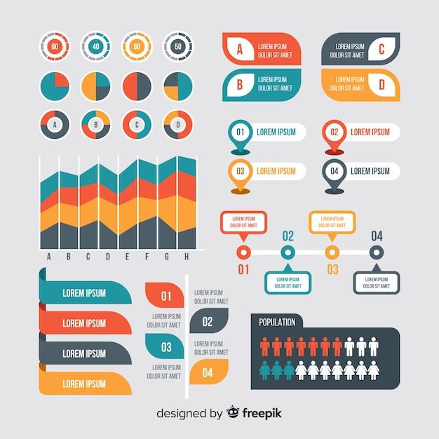 Colección de elementos para infografias en diseño plano vector gratuito