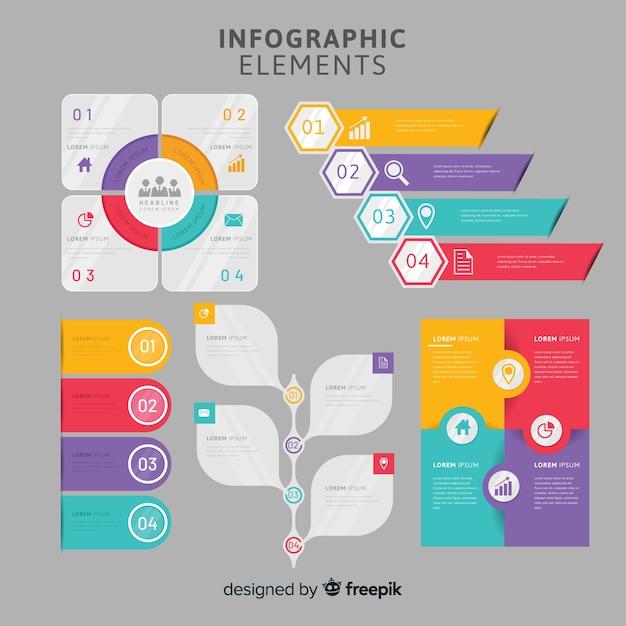 Colección de elementos para infografías en diseño plano vector gratuito